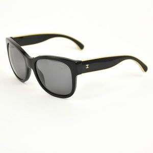 CHANEL: Black & Gold CC, Polarized Sunglasses (hn)